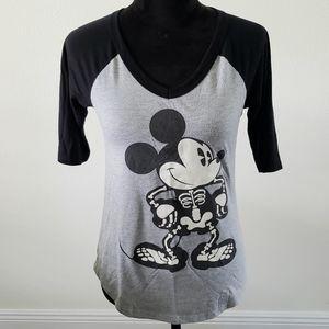 B2G1 Disney Mickey Mouse Skeleton V-neck Knit